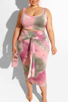Pink Sexy Print Bandage Two Piece Suits O Neck Plus Size Two Pieces