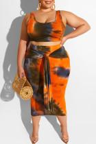 Orange Sexy Print Bandage Two Piece Suits O Neck Plus Size Two Pieces