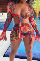 Red Sexy Print Bandage Split Joint Draw String See-through Flounce V Neck Long Sleeve Two Pieces