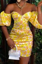 Yellow Elegant Print Split Joint Off the Shoulder A Line Dresses
