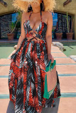 Apricot Sexy Print Hollowed Out Split Joint Backless High Opening Halter A Line Dresses
