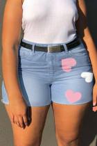 Light Blue Fashion Casual Print Without Belt Regular High Waist Plus Size Jeans
