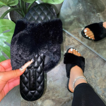 Black Fashion Casual Split Joint Solid Color Keep Warm Comfortable Slippers