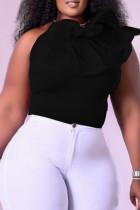 Black Sexy Casual Solid Flounce Oblique Collar Tops