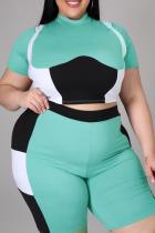 Green Sexy Color Block Split Joint Half A Turtleneck Plus Size Two Pieces