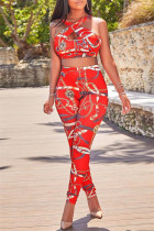 Red Sexy Casual Print Backless U Neck Sleeveless Two Pieces