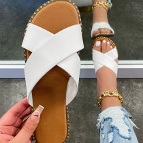 White Fashion Casual Hollowed Out Split Joint Solid Color Comfortable Slippers
