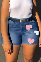 Medium Blue Fashion Casual Print Without Belt Regular High Waist Plus Size Jeans