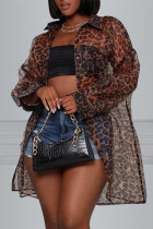 Coffee Fashion Casual Print Leopard Cardigan Turndown Collar Outerwear