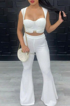 White Sexy Casual Solid Split Joint Square Collar Sleeveless Two Pieces