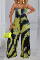 Green Casual Patchwork Tie-dye Spaghetti Strap Loose Jumpsuits