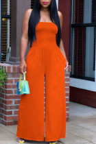 Tangerine Red Casual Solid Split Joint Strapless Straight Jumpsuits
