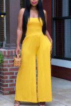 Yellow Casual Solid Split Joint Strapless Straight Jumpsuits