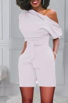 White Casual Solid Bandage One Shoulder Regular Jumpsuits