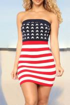 Colour Casual Print Split Joint Strapless Pencil Skirt Dresses