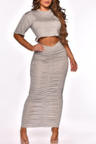 Grey Casual Solid Split Joint Fold O Neck Short Sleeve Two Pieces