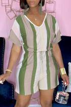 Green Fashion Casual Striped Print Basic V Neck Regular Romper