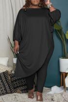 Black Fashion Casual Solid Asymmetrical Oblique Collar Plus Size Two Pieces