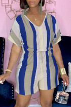 Blue Fashion Casual Striped Print Basic V Neck Regular Romper
