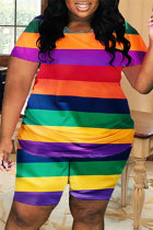 Rainbow Color Fashion Casual Striped Print Basic O Neck Plus Size Two Pieces