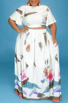 White Fashion Casual Print Basic V Neck Plus Size Two Pieces