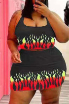 Black Sexy Casual Print Backless Halter Plus Size Two Pieces
