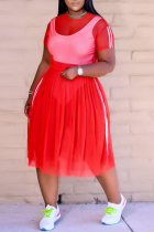 Red Casual Solid Mesh O Neck Cake Skirt Plus Size Two Pieces