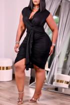 Black Fashion Sexy Plus Size Solid Fold V Neck Sleeveless Dress