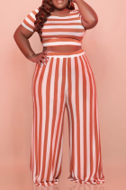 Tangerine Red Casual Striped Split Joint O Neck Plus Size Two Pieces