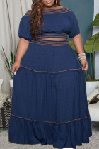 Blue Casual Solid Split Joint Off the Shoulder Straight Plus Size Two Pieces