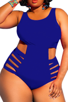 Blue Sexy Solid Hollowed Out U Neck Plus Size Swimwear