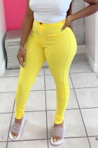 Yellow Sexy Solid Split Joint Skinny Mid Waist Pencil Solid Color Bottoms