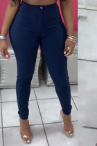 Navy Sexy Solid Split Joint Skinny Mid Waist Pencil Solid Color Bottoms