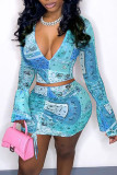 Blue Sweet Print Split Joint Draw String Fold V Neck Long Sleeve Two Pieces