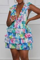 Multicolor Sweet Print Split Joint Flounce V Neck A Line Dresses