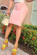 Pink Fashion Casual Solid Basic Regular High Waist Skirts