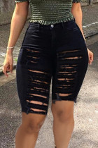 Black Street Solid Ripped Hollowed Out Split Joint High Waist Straight Denim Shorts