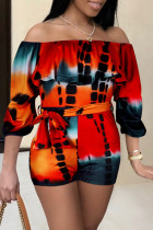 Red Orange Sexy Casual Print Backless Off the Shoulder Regular Romper
