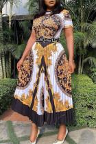 Black Fashion Casual Print Basic O Neck Short Sleeve Pleated Dresses