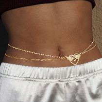 Gold Fashion Pierced Rhinestone Waist Chain