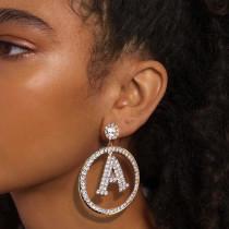 Gold Fashion Letter Pendant Rhinestone Earrings
