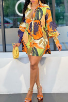 Multicolor Fashion Casual Print Without Belt Turndown Collar Long Sleeve Shirt Dress