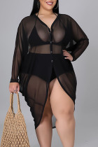 Black Sexy Solid Split Joint Buttons See-through Asymmetrical V Neck Plus Size Tops
