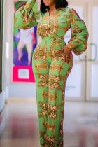 Green Casual Print Split Joint Turndown Collar Boot Cut Jumpsuits