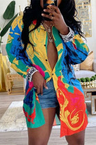 Colour Fashion Casual Print Cardigan Turndown Collar Tops