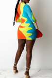 Orange Yellow Sexy Print Split Joint O Neck Pencil Skirt Dresses