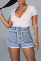 Baby Blue Fashion Casual Solid Split Joint Regular High Waist Conventional Solid Color Plus Size Jeans