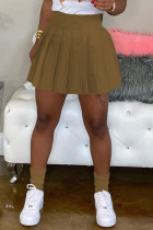 Khaki Sexy Solid Split Joint Loose Solid Color Bottoms