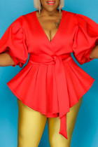 Red Fashion Casual Solid Bandage V Neck Plus Size Tops