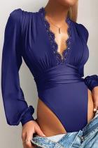 Blue Sexy Solid Split Joint V Neck Skinny Jumpsuits
